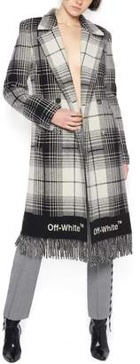 Off-White Off White Checked Fringed Coat