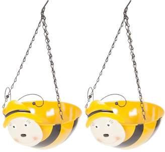 Very Pair Of Wobblehead Bee Hanging Baskets 11'' (32cm)