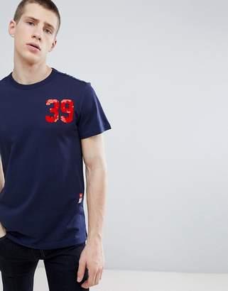 G Star G-star back organic cotton print logo t-shirt in navy
