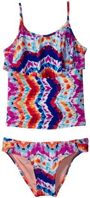 Hobie Kids Chevron and on Ruffle Tankini Side Sash Hipster Swim Set Girl's Swimwear Sets