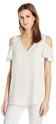 Calvin Klein Women's V-Neck Cold Shoulder Flutter Top