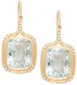 Jamie Wolf Cushion-Cut Green Amethyst Drop Earrings with Diamonds