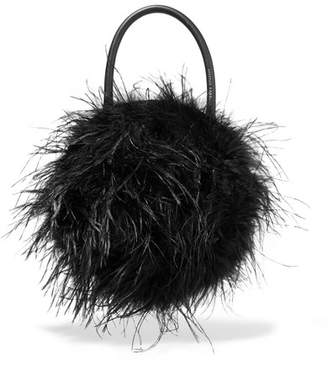 Loeffler Randall Zadie Feather-embellished Leather Tote - Black
