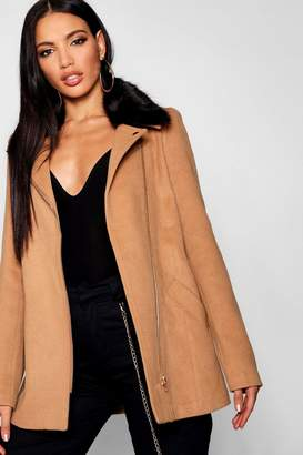 boohoo Faux Fur Collar Wool Look Coat
