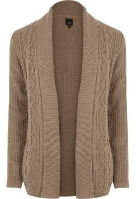 River Island Light brown cable knit regular fit cardigan