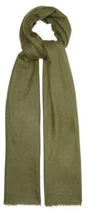 Allude Fine Knit Fringed Cashmere Scarf - Womens - Khaki