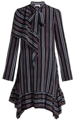 See by Chloe Striped Asymmetric Silk Mini Dress - Womens - Navy