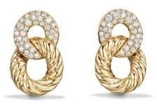 David Yurman Belmont Extra-Small Curb Link Drop Earrings with Diamonds in 18K Gold