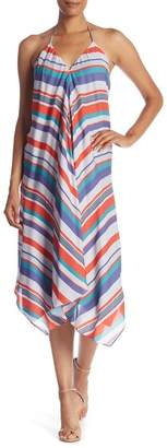 Ramy Brook Nadia Striped Sharkbite Hem Silk Dress