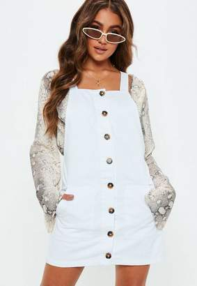 Missguided White Horn Button Through Denim Pinafore Dress