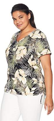 Caribbean Joe Women's Plus Size Adjustable Short Sleeve V Neck Ruched Top
