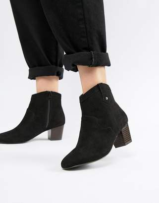 Miss Selfridge faux suede heeled chelsea boots in black