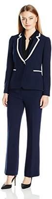 Tahari by Arthur S. Levine Women's Petite Size Pebble Crepe Pant Suit with Contrast Collar