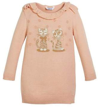 Mayoral Knit Sweater Dress w/ Kitty Intarsia, Size 3-7