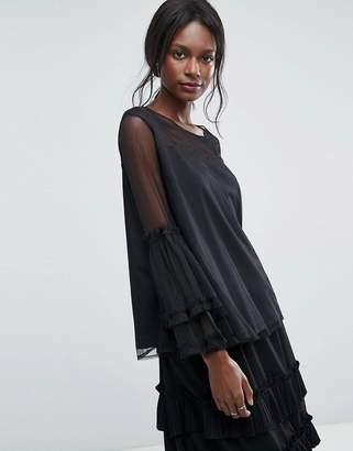 Lace and Beads Lace & Beads Dobbie Mesh Sheer Top with Exaggerated Sleeve