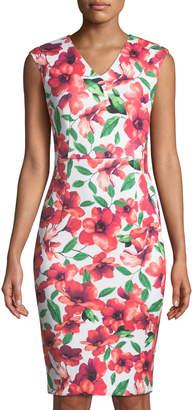 Iconic American Designer V-Neck Floral Sheath Dress