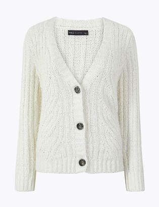 Marks and Spencer Chenille Cable Knit V-Neck Cardigan