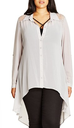 City Chic 'Cheeky Cowl' High/Low Shirt $69 thestylecure.com