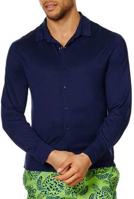 Vilebrequin Men's Button-Down Long-Sleeve Jersey Shirt