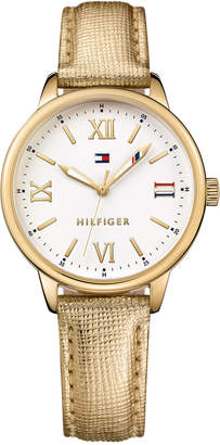 Tommy Hilfiger Women's Metallic Gold Leather Strap Watch 36mm 1781721 $65 thestylecure.com