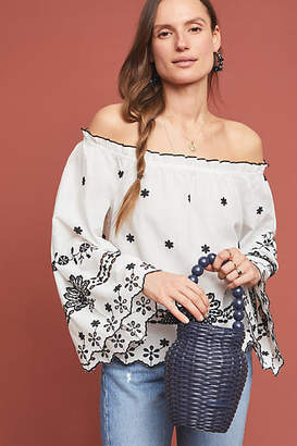 Maeve Campbell Embroidered Off-The-Shoulder Blouse
