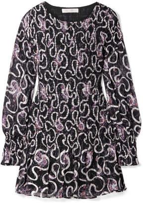 LoveShackFancy Scarlett Smocked Silk-blend Georgette Dress - Navy