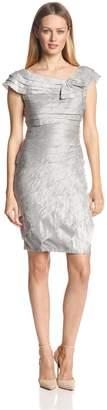 London Times Women's Petite Cap Sleeve Shimmer Shutter with Jewel Corsage Dress