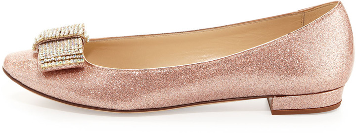 Kate Spade Niesha Flat With Sparkle Bow, Rose Gold