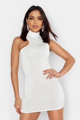 8bda6fd4dd1 boohoo Slinky One Shoulder Cut Out High Neck Mini Dress