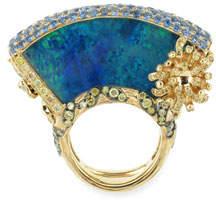 Wendy Yue 18k Lattice Opal Fan Ring, Size 6.75