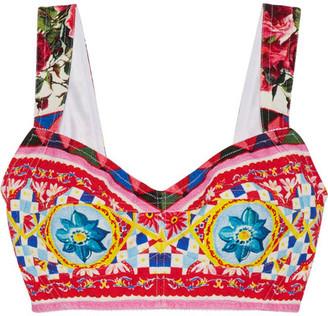 Dolce & Gabbana - Printed Cotton-blend Crepe Bra Top - Pink $775 thestylecure.com