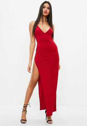 Missguided Red Stretch Multi Strap Plunge Split Maxi Dress
