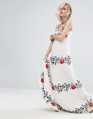 Glamorous Cami Maxi Dress With Tiered Embroidery