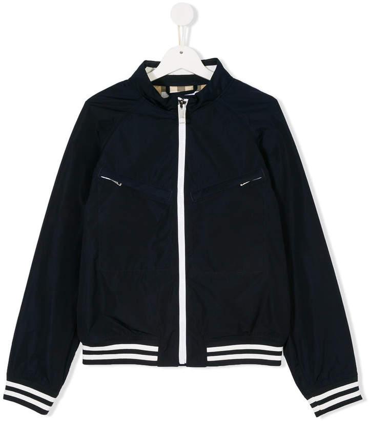 striped hem bomber jacket