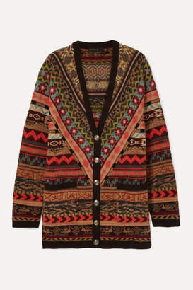 Etro Oversized Fair Isle Wool Cardigan - Orange