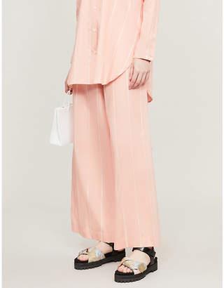 Samsoe & Samsoe Fano pinstriped high-rise wide cotton trousers