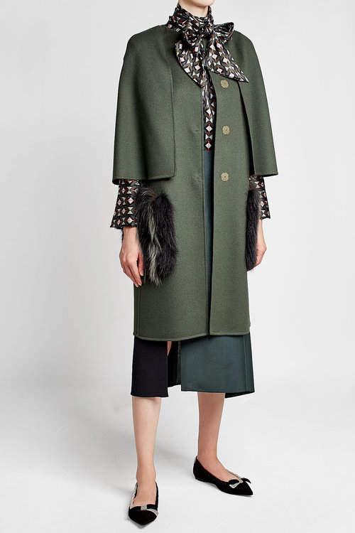 Fendi Fleece Wool Coat with Fox Fur