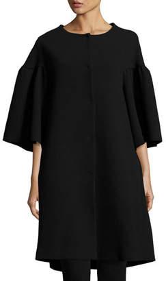 Co Flared-Sleeve A-Line Car Coat, Black