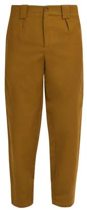 Etro Cropped Linen Blend Trousers - Mens - Gold