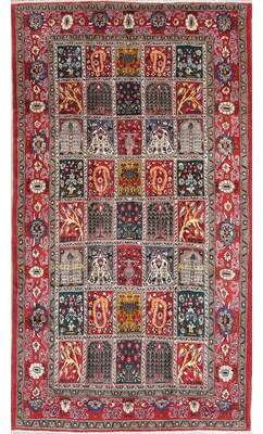 """Astoria Grand One-of-a-Kind Boulware Persian Garden Design Hand-Knotted 5'4"""" x 9'5"""" Wool Red/Gray/Green Area Rug Astoria Grand"""