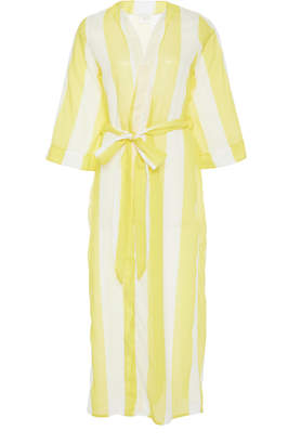 Verde Limon Striped Tie-Front Cover-Up