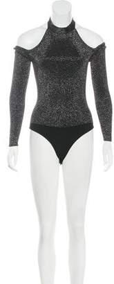 Cushnie et Ochs Glitter Rib Knit Bodysuit