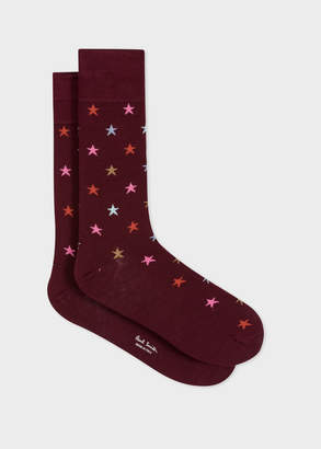 Paul Smith Men's Burgundy Multi-Coloured Star Motif Socks