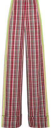 Diane von Furstenberg Grosgrain-trimmed Checked Canvas Wide-leg Pants