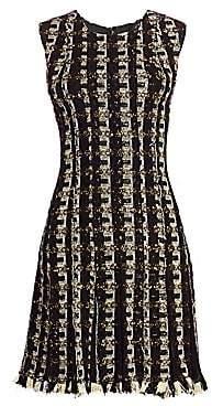 Oscar de la Renta Women's Chiffon Panel Embellished Tweed Dress