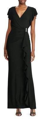 Lauren Ralph Lauren Ruffled-Trim Jersey Gown