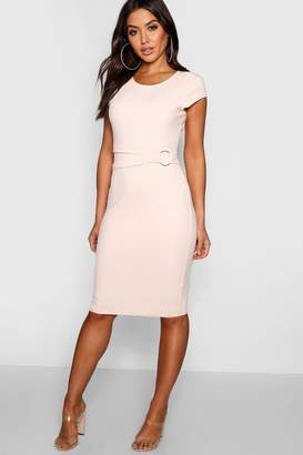 boohoo Ring Detail Pleat Waist Midi Dress