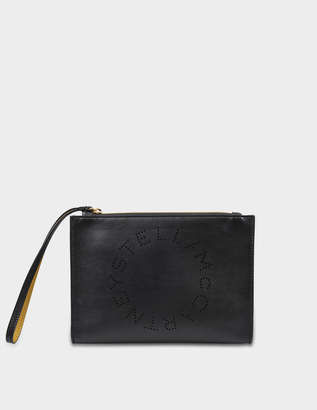 Stella McCartney Alter Nappa Stella Logo Flap Zip Bag in Black Eco Leather
