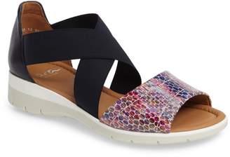 ara Larissa Cross Strap Wedge Sandal