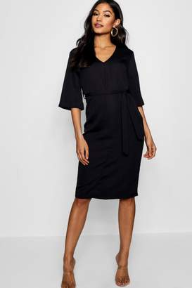 boohoo Woven Belted Midi Dress